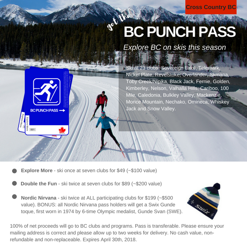 BC Cross Country Ski Punch Pass 2017
